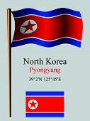 North Korea Wavy Flag And Coordinates