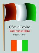 Cote D'ivoire Wavy Flag And Coordinates