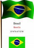 Brasil Wavy Flag And Coordinates