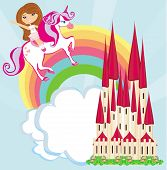 Girl On A Unicorn Flying On A Rainbow