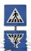 Sunken Blue Crosswalk Sign