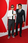 Psy and Byung Hun Lee at the premiere of Summit Entertainment's