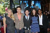 Leven Rambin, Jake Able, Logan Lerman, Alexandra Daddario and Brandon T. Jackson at the