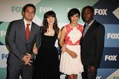 Jake Johnson, Zooey Deschanel, Hannah Simone and Lamorne Morris at the Fox All-Star Summer 2013 TCA