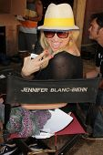 Jennifer Blanc-Biehn on the set of