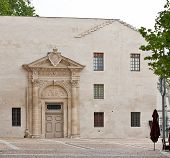 picture of avignon  - The modern facade with medieval entrance - JPG