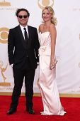 Johnny Galecki and Kelli Garner at the 65th Annual Primetime Emmy Awards Arrivals, Nokia Theater, Los Angeles, CA 09-22-13