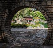 Japanese Garden Through Moon Gate