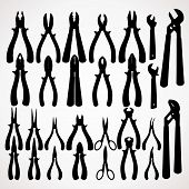 Various Pliers Silhouettes. Hand Tools Collection
