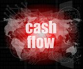 Business Words Cash Flow On Digital Screen Showing Financial Success
