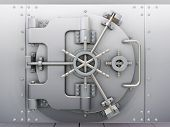 stock photo of bank vault  - 3D render of bank vault with door closed - JPG