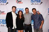 Michael Muhney, Melissa Claire Egan, Joshua Morrow and Steve Burton at the CBS Daytime After Dark Event, Comedy Store, West Hollywood, CA 10-08-13