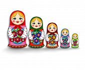 stock photo of doll  - beautiful nested dolls on a white background - JPG