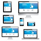 Modern responsive web design computer, laptop, tablet and smartphone vectors poster
