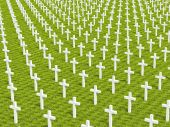 picture of memento  - 3d image of several white cross on green grass - JPG