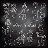 The teacher with the students. Drawing chalk