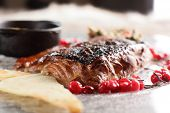 Fried Salmon With Cranberries And Sauce