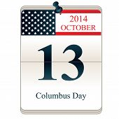 stock photo of christopher columbus  - Vector of Calendar of Christopher Columbus Day 2014 with American flag - JPG