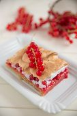 German Cake with red currant and meringue