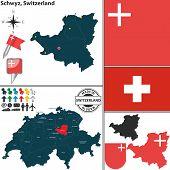 Map Of Schwyz, Switzerland