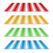 image of awning  - Set of colored awnings on white background - JPG