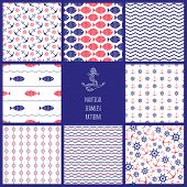 Set of eamless nautical patterns