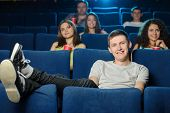foto of watching movie  - Watching a movie - JPG