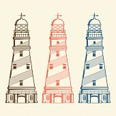 Retro Lighthouses Set Isolated On White Background. Line Art. Modern Design. Vector Illustration