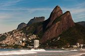 picture of ipanema  - Ipanema beach with beautiful mountains in Rio de Janeiro - JPG