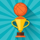 Sports illustration with basketball and prize in flat style.