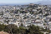 SAN FRANCISCO, CALIFORNIA - July 5, 2014:  Hilltop view of San Francisco's socially diverse Castro d