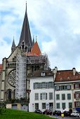 LAUSANNE, SWITZERLAND - JULY 7, 2014: The Cathedral of Notre Dame of Lausanne. The Cathedral is curr