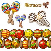 Set of colorful fun maracas