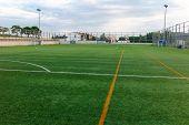 Football Amateur Stadium With Green Grass