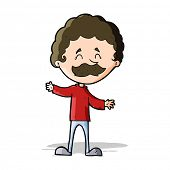 cartoon happy man with mustache