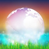 image of land-mass  - Abstract background of globe with grass vector illustration - JPG