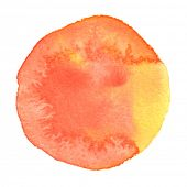 Watercolour circle. Watercolor stain isolated on white background. Watercolor palette of orange and