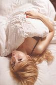 Beautiful Romantic Woman In Morning Bed