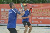 MOSCOW, RUSSIA - JULY 17, 2014: Men team Israel in the match with Lithuania during ITF Beach Tennis