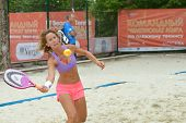 MOSCOW, RUSSIA - JULY 16, 2014: Laura Galli of Switzerland on the training before the ITF Beach Tenn
