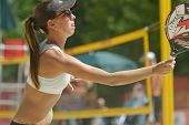 MOSCOW, RUSSIA - JULY 16, 2014: Lorena Melo of Brazil on the training before the ITF Beach Tennis Wo