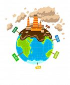 World planet pollution ecocatastrophe. Eps10 vector illustration. Isolated on white background