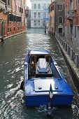 stock photo of casket  - Funeral boat with casket in Venice canal - JPG