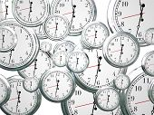 picture of pass-time  - Many clocks ticking counting down seconds - JPG