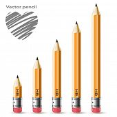 Illustration of a set of pencils and drawing a heart on a white background. Vector.