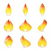Icon flame isolated on white background. Set. Illustration, vector.
