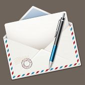 Illustration ballpoint pen and airmail envelope isolated on dark background. Vector.