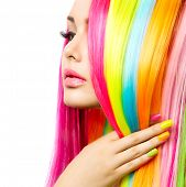 stock photo of manicure  - Beauty Girl Portrait with Colorful Makeup - JPG