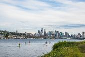 Seattle Skyline Paddle Boarding  Lake Union Gas Works Park