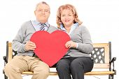 Lovely mature couple holding big red heart seated on bench isolated against white background